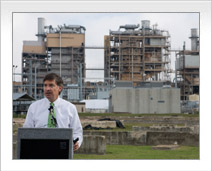 Will Wynn speaks at the decommissioning ceremony for the Holly Street power plant in Austin