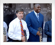 Will Wynn is joined by Magic Johnson at the groundbreaking for a $300 million mixed-use high-rise development adjacent to Austin's new City Hall