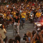 Will Wynn rides with Lance Armstrong down Congress Avenue as 50,000 help celebrate Lance's sixth consecutive Tour de France victory.