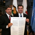 Will Wynn and San Francisco Mayor Gavin Newsome were two of fifty-eight international leaders to sign the United Nations Urban Environmental Accords.