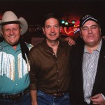 Will Wynn helps celebrate live music in Austin with James White (left), owner of the Broken Spoke dance hall and the late Clifford Antone of the acclaimed Antone's blues club.