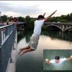"In support of the locally-produced independent film ""Jumping Off Bridges"", Will Wynn jumps into the Colorado River."