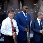 Will Wynn is joined by Magic Johnson at the groundbreaking for a $300 million mixed-use high-rise development adjacent to Austin's new City Hall.