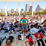 """Will Wynn leads hundreds of Austinites in a performance of Michael Jackson's """"Thriller""""."""